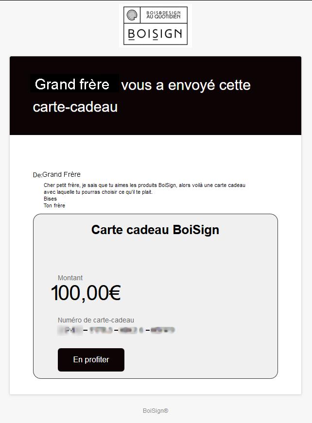 e-mail réception carte cadeau