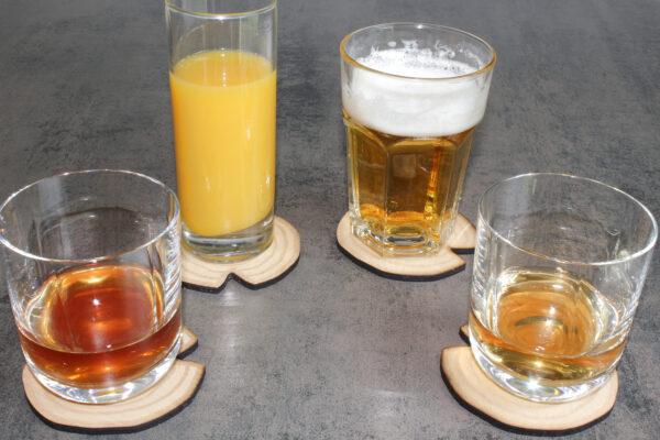 4 dessous de verres BoiSign avec verres